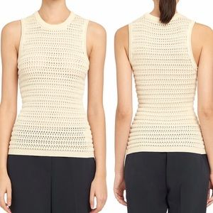 Theory Textured Knit Tank Top Ivory Sz M NWT
